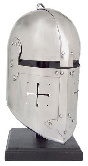 Crusader helmet with holder