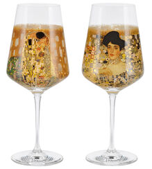 2 Wine Glasses with Artistic Motives in Set