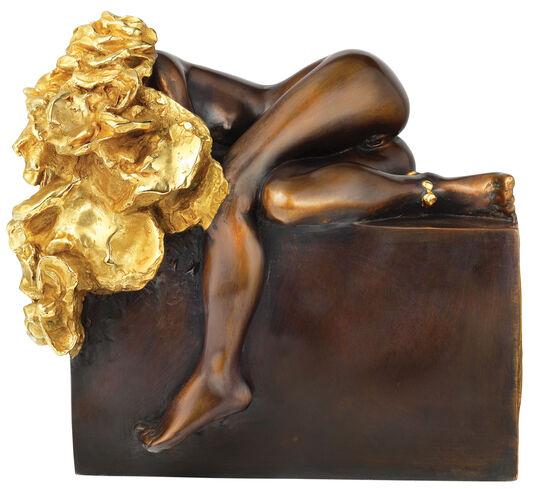 """Cyrus Overbeck: Skulptur """"Liegendes Rosenmädchen"""", Bronze teilvergoldet"""