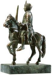 "Equestrian statuette ""Charlemagne"", version in metal cast"