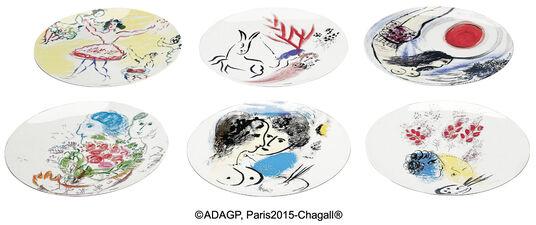 Marc Chagall: Kollektion Marc Chagall von Bernardaud - 6-teiliges Tellerset mit Künstlermotiven, Porzellan