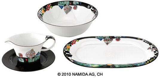 "Friedensreich Hundertwasser: Set of Sauce Boat, Bowl and Platter ""The Antipodes"""