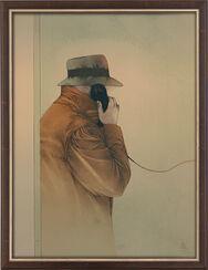 """Bild """"Ein entscheidender Anruf"""" (1985), gerahmt"""