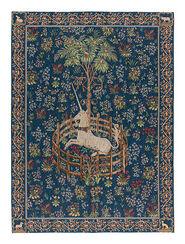 """Wandteppich """"Das gefangene Einhorn"""" (1495-1505), Version in blau"""