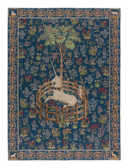 """Tapestry """"The Caught Unicorn"""" (1495-1505), version in blue"""