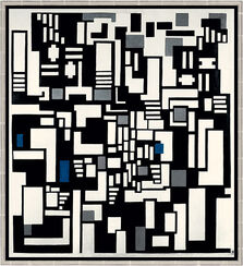 """Painting """"Composition IX, Opus 18 (Abstraction of the Card Player)"""", 1917, framed"""