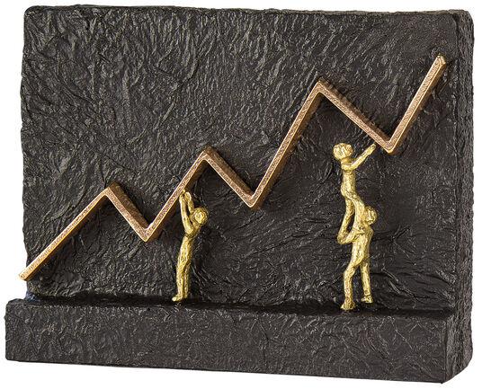 """Kerstin Stark: Skulptur """"Mit vereinten Kräften zum Erfolg"""", Bronze mit Kunststein"""