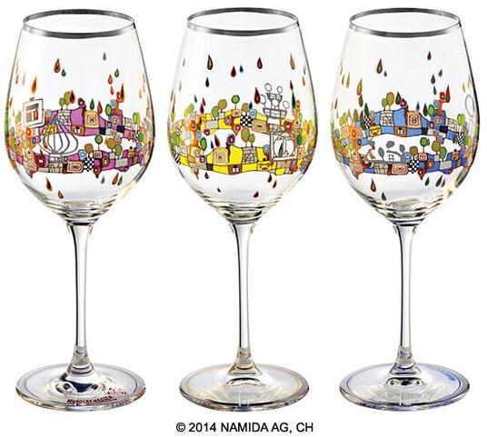 """Friedensreich Hundertwasser: 3er-Set Weingläser """"BEAUTY IS A PANACEA - Platin - Weißwein"""""""