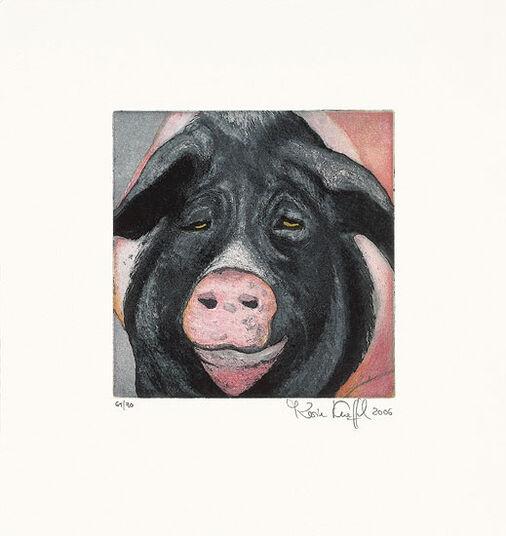 """Karin Kneffel: Bild """"Schwein (schwarz)"""" (2006)"""