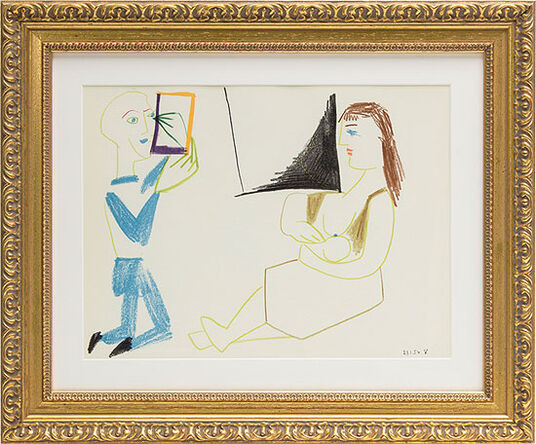 "Pablo Picasso: Bild ""Im Atelier"" (1954), gerahmt"