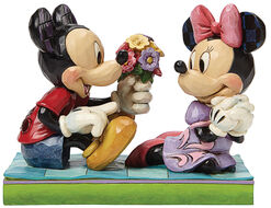 "Sculpture ""Minnie and Mickey with a Flower Bouquet"", Artificial Casting"