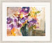 "Bild ""Anemone in dunkler Vase"", gerahmt"