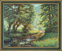 "Painting ""Trout Stream in Frankenwald"" in studio framing"