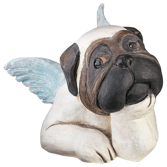 Loriot: Sculpture 'Sistine Pug (resting on the chin)', version in art casting
