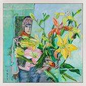 "Bild ""Artist and flowers"" (2017) (Unikat)"