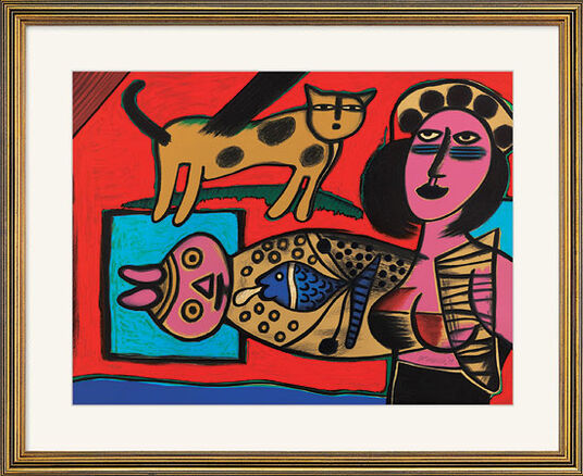 "Corneille: Lithograph ""Femme, Chat et l'Oiseau - Woman, Cat and Bird"" (1999), framed"