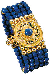 "Bracelet ""Konstantin Opel"" gilded with lapis lazuli, 925 Sterling Silve"