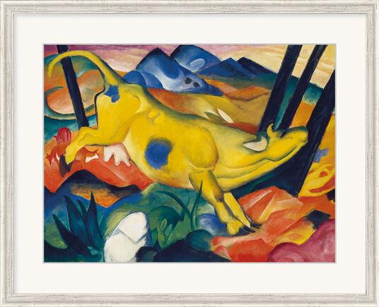 """Franz Marc: Bild """"Die gelbe Kuh"""" (1911) , gerahmt"""