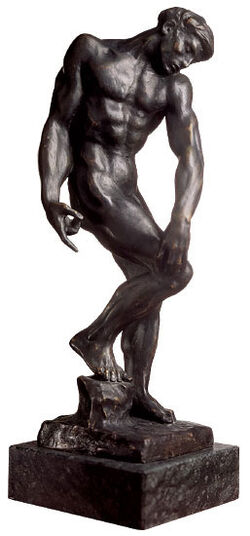 "Auguste Rodin: Sculpture ""Adam or the large shadow"" (1880), bronze artedition"