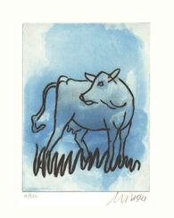 """Bild """"Die blaue Kuh (seitwärts blickend)"""" (2017)"""