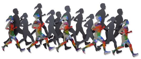 """C. Jeré: Wandskulptur """"Runners"""", Stahl"""