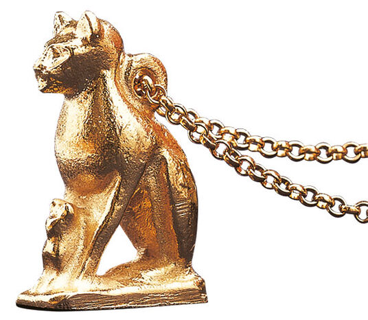 "Gold plated pendant ""Bastet Cat"" with necklace, silver plated with gold"