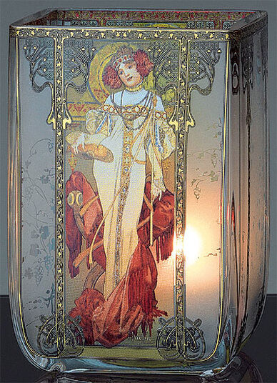 "Alphonse Mucha: Art Nouveau tea candle ""Autumn"", glass"