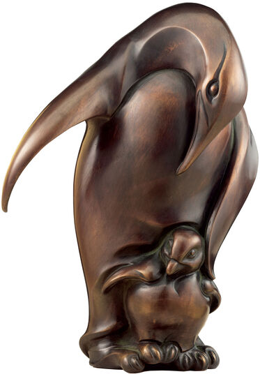 "Jochen Bauer: Sculpture ""Penguin with cub"", bronze"