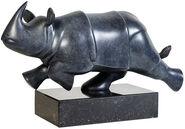 """Skulptur """"Rennendes Nashorn"""", Bronze grau/schwarz"""