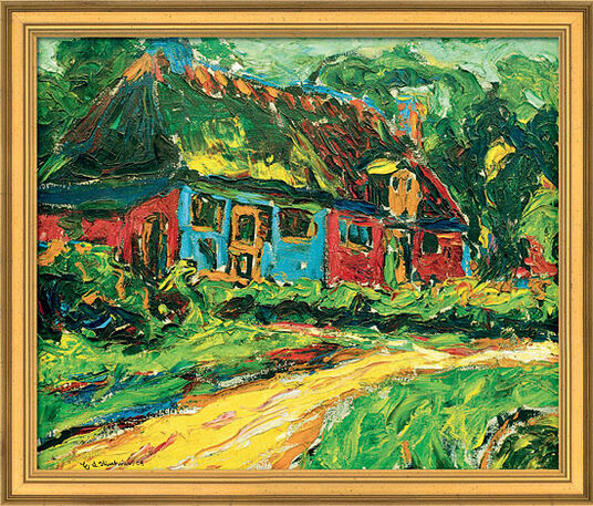 """Ernst Ludwig Kirchner: Bild """"Altes Haus auf Fehmarn"""" (1908), gerahmt"""