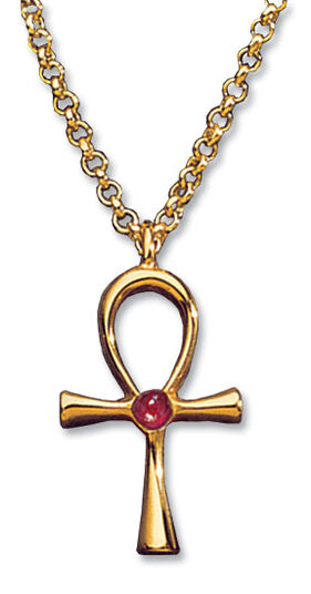 "Pendant ""auspicious Anch Cross"" with necklace, gold-plated 925 sterling silver"