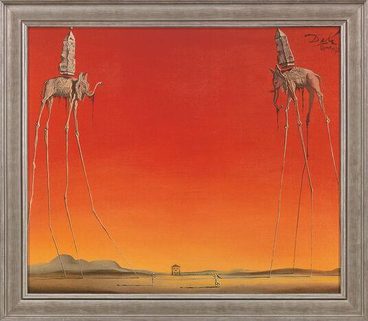"""Salvador Dalí: Bild """"Les Éléphants"""" (1948), gerahmt"""