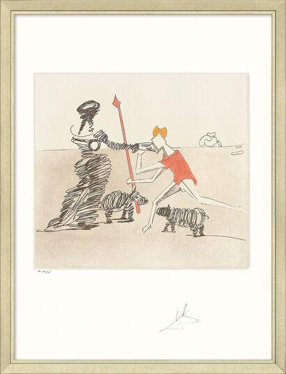 """Salvador Dalí: Bild """"Don Quijote (K) - Pastorale"""" (1980), gerahmt"""