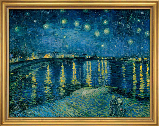 "Vincent van Gogh: Painting ""Starry Night over Rhône"" (1888) in a frame"