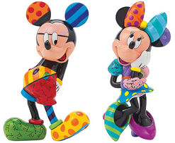 "Sculpture Set ""Mickey & Minnie Flirt"", Artificial Casting, Hand-painted"