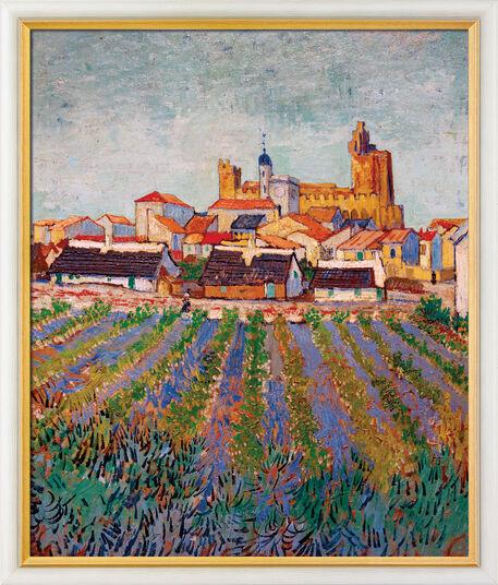 """Vincent van Gogh: Bild """"Blick auf Saintes-Maries-de-la-Mer"""" (1888), gerahmt"""