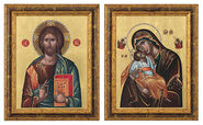 "Set of 2 pictures ""Almighty Christ"" + ""Virgin Mary Sweet kissing"""
