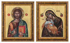 """Set of 2 pictures """"Almighty Christ"""" + """"Virgin Mary Sweet kissing"""""""