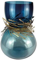 "Vase ""Festive blau"", Glas/Bronze"