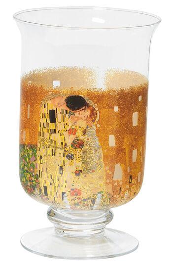"""Gustav Klimt: Windlicht / Vase """"Der Kuss"""", Glas"""