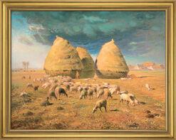 Picture 'Haystacks: Autumn' (around 1874) in museum framing