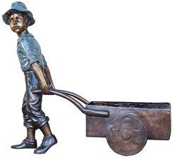 """Gartenskulptur / Pflanzgefäß """"Junge mit Karre"""", Bronze"""