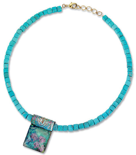 Petra Waszak: Necklace 'Water Lilies, Turquoise'