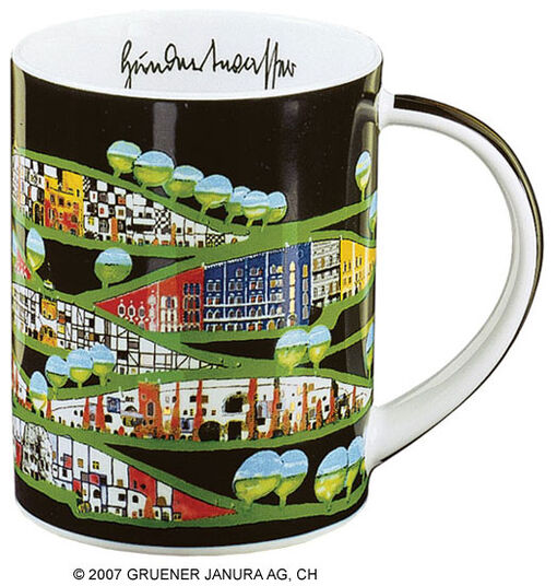 "Friedensreich Hundertwasser: Magic Mug ""Rogner-Bad Blumau"", porcelain"