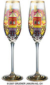 "(882A) Sparkling wine glass ""Snail Houses with Black Smoke"", 2 part set"