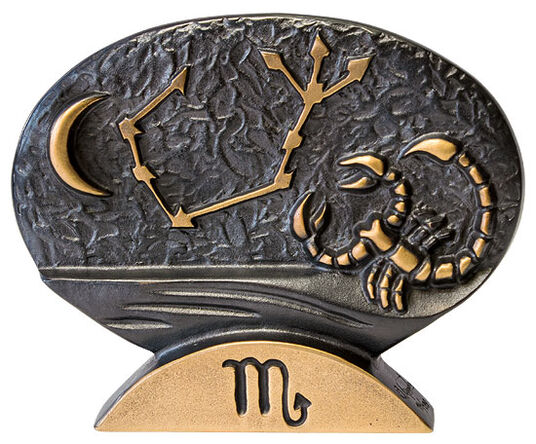 """Bernardo Esposto: Sternzeichen-Skulptur """"Skorpion"""" (24.10.-22.11.), Bronze"""