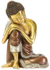 "Skulptur ""Ruhender Buddha"", Messing"