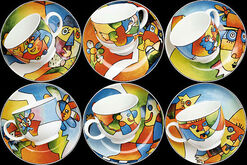 """Kaffeeservice """"Akrobat Schön"""", 6 Kaffeetassen mit Untertassen im Set"""