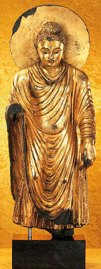 Statue 'Golden Buddha from Gandhara', metal gold-plated cast stone