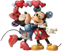 """Sculpture """"Mickey and Minnie in Love"""", Artificial Casting Painted by Hand"""